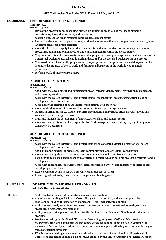 architectural designer resume sample