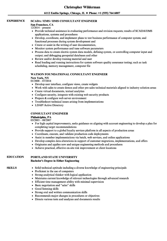 consultant engineer resume sample