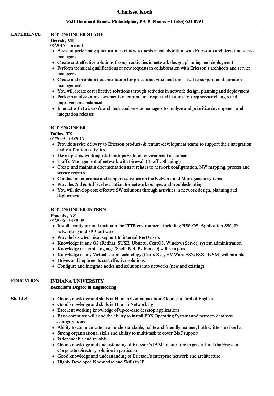 ict engineer resume sample