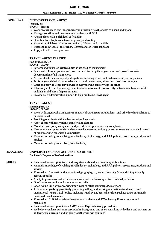 travel agent resume sample
