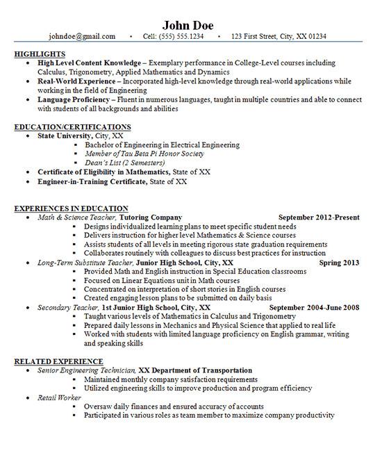 Junior High Student Resume Junior High School Teacher Resume Example Math and Science