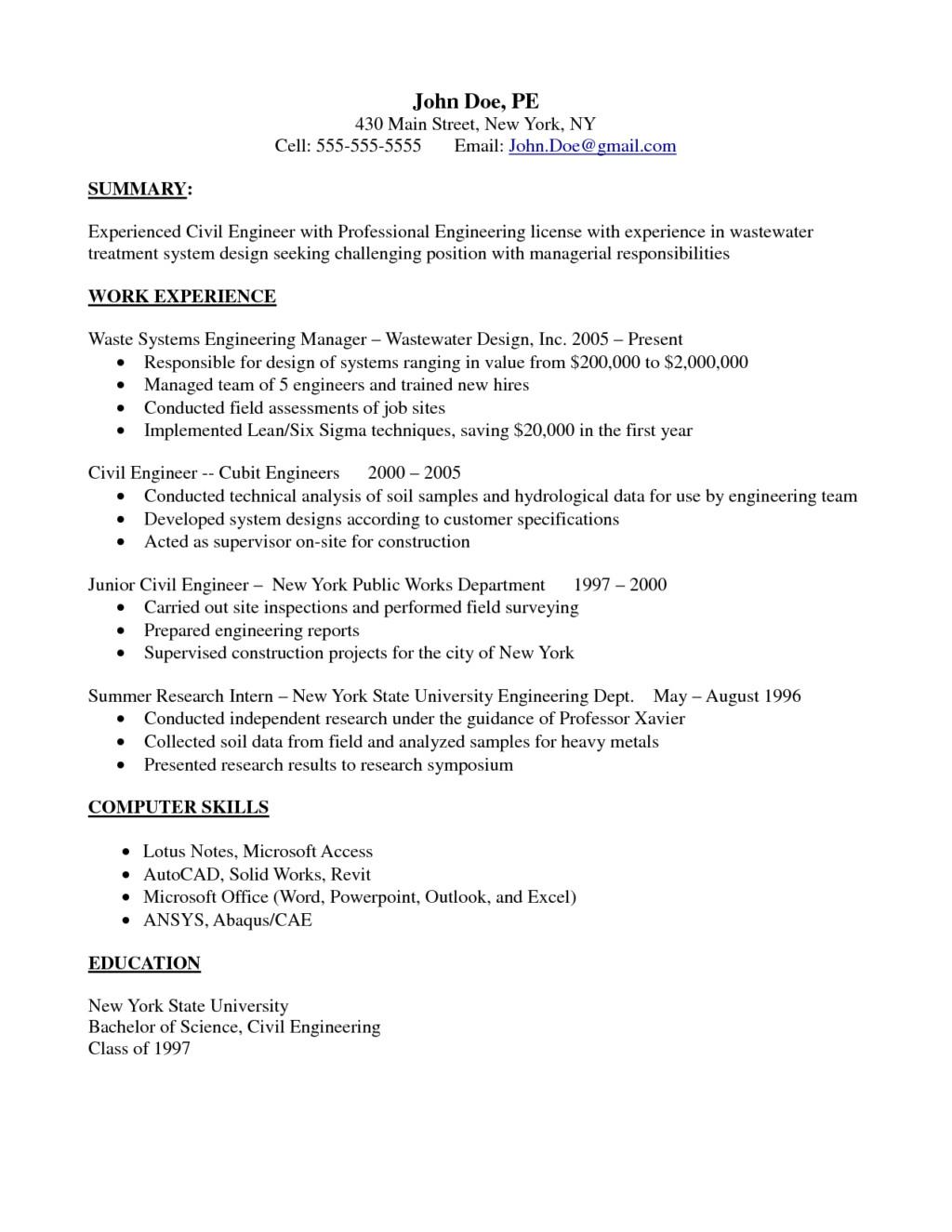 junior structural engineer resume