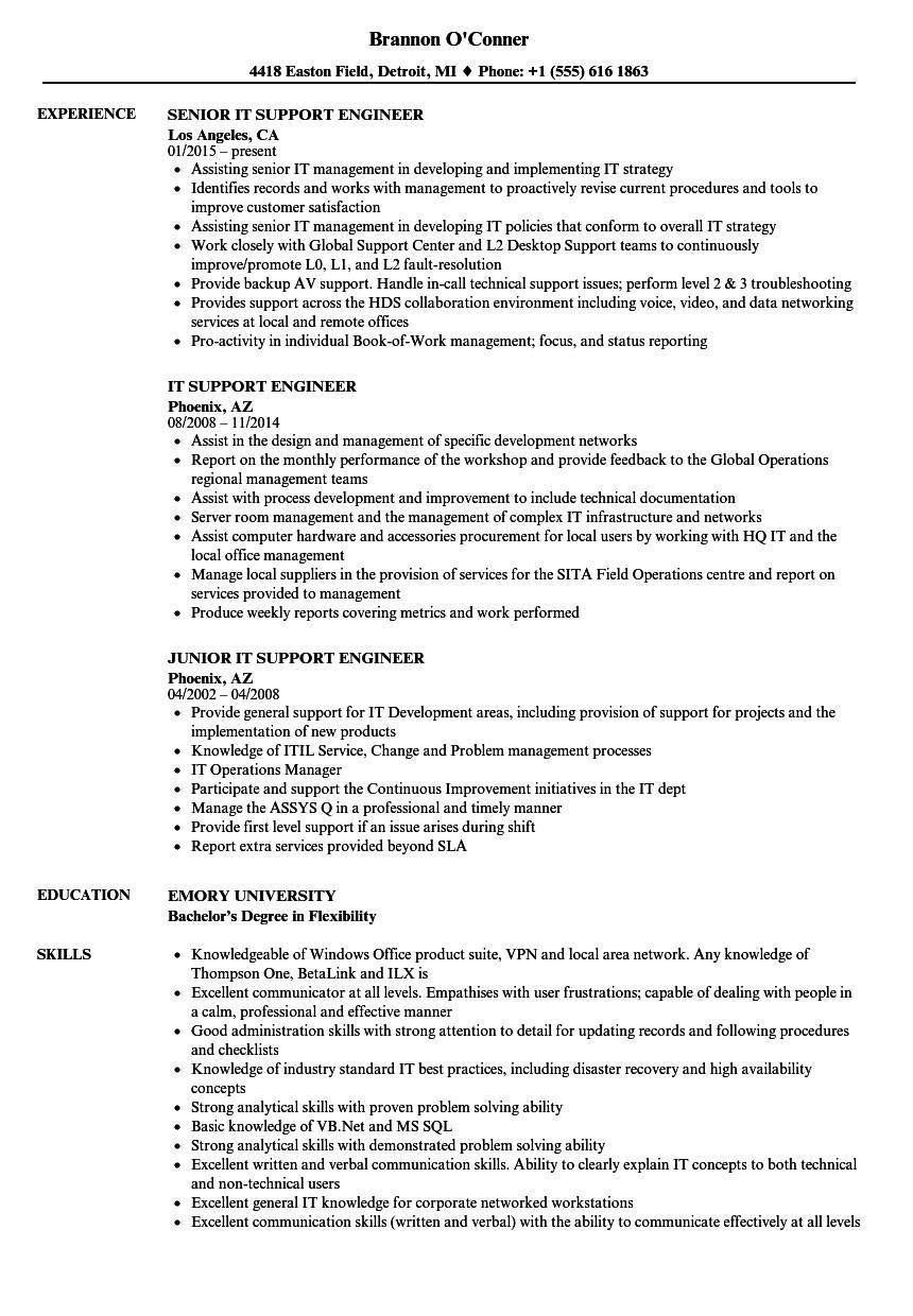 it support engineer resume sample