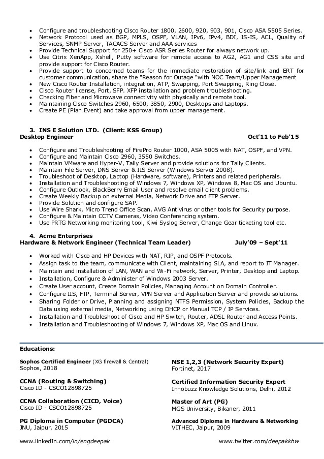 resume for network engineer network security it management l2 l3