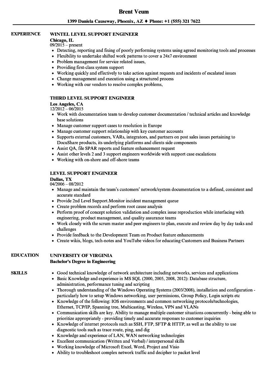 L2 Support Engineer Resume Resume format for Desktop Support Engineer L2 Resume