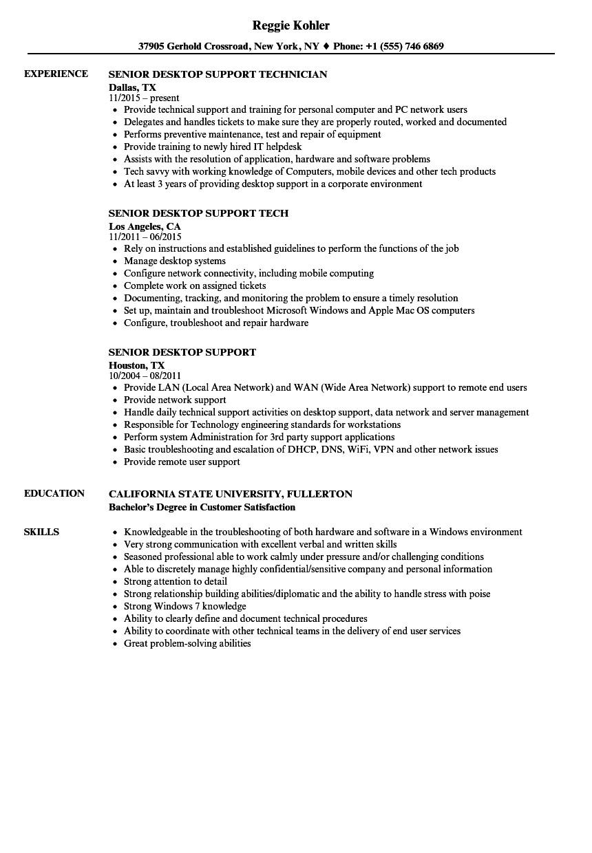 senior desktop support resume sample