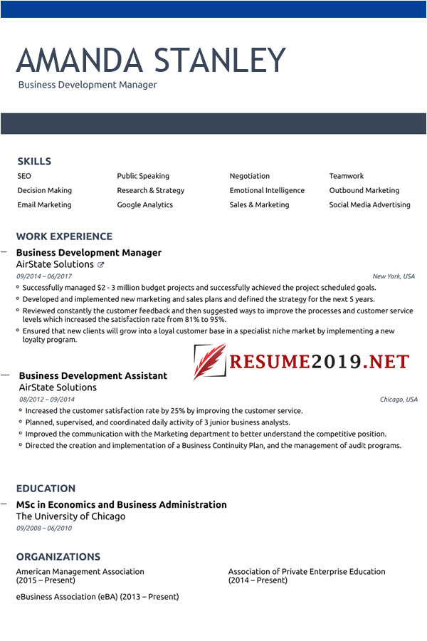 most winning resume format 2019