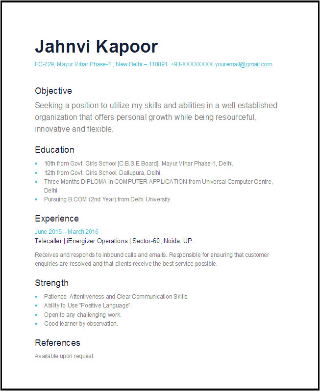 simple one page resume sample 2016