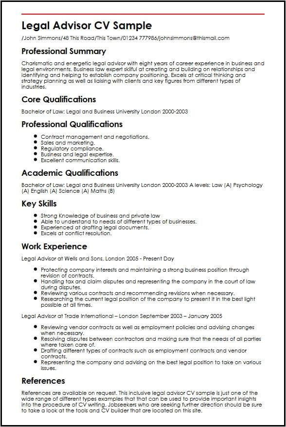 Legal Advisor Resume format Word Legal Advisor Cv Sample Myperfectcv