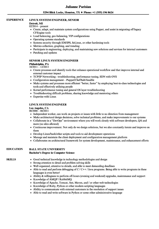 Linux Engineer Resume Linux System Engineer Resume Samples Velvet Jobs
