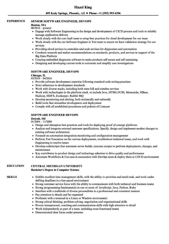 engineer devops resume sample