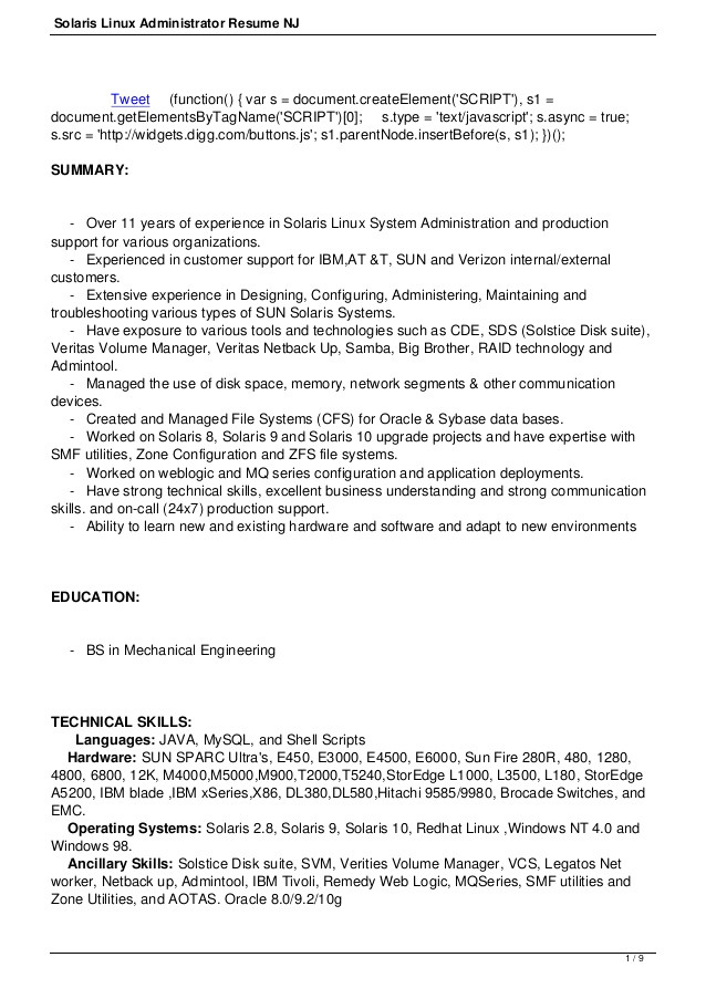 Linux Resume Sample Sample Resume for Linux System Administrator Fresher