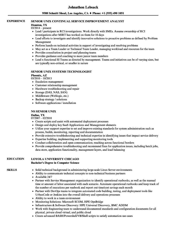 senior unix resume sample