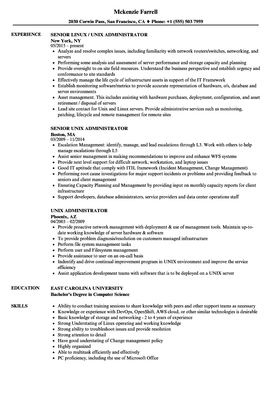 unix administrator resume sample