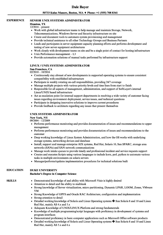 unix systems administrator resume sample