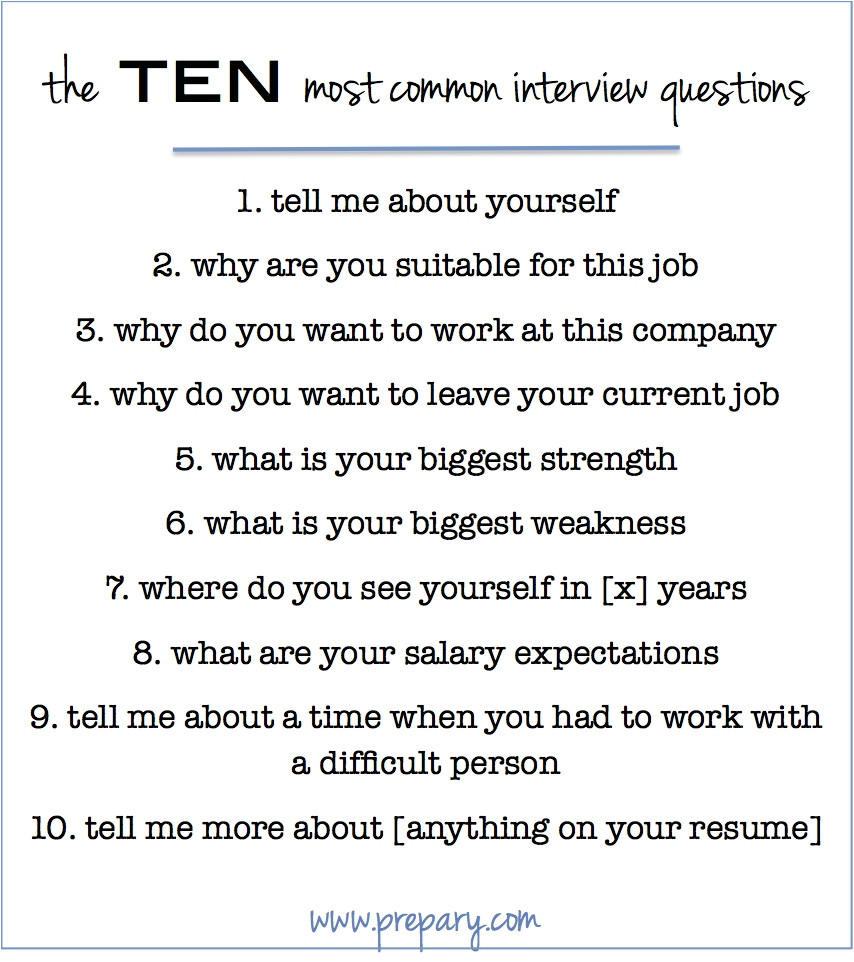 answer the 10 most common interview questions