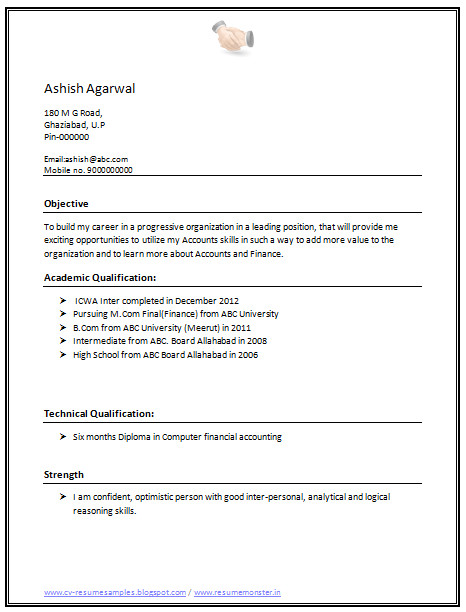 M Com Resume format Word Over 10000 Cv and Resume Samples with Free Download Cv