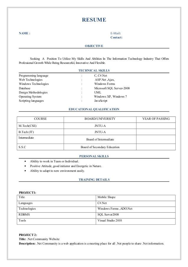 fresher resume format 45822966