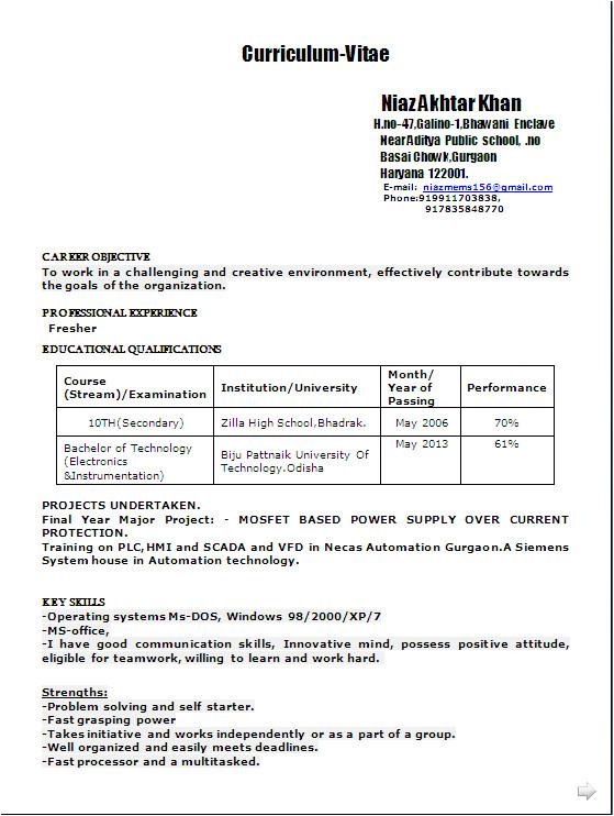 sample resume format in word doc for b