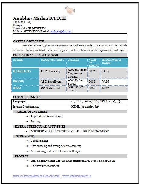 resume format for freshers b tech cse