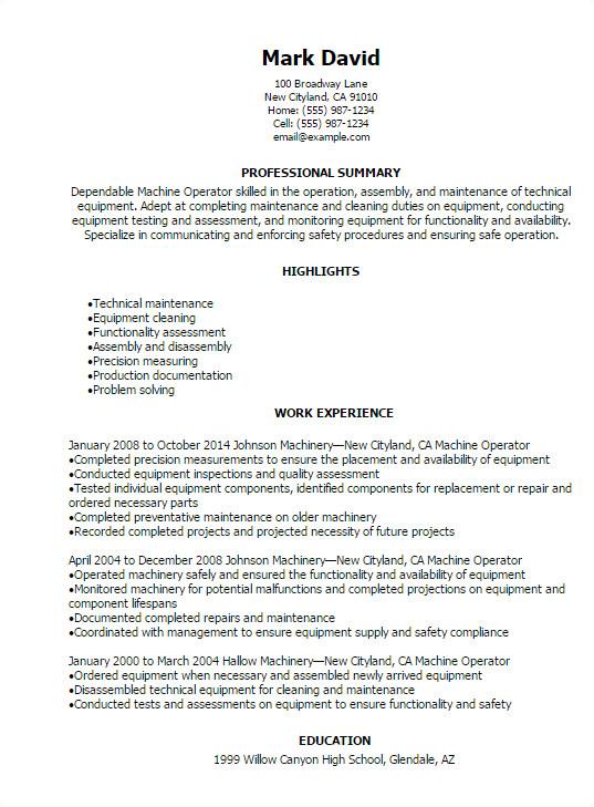 machine operator resume