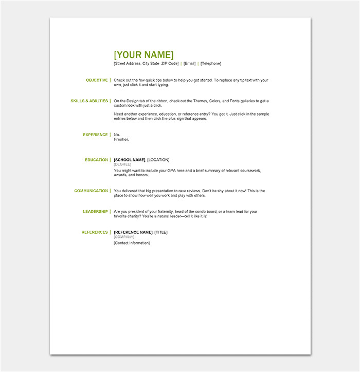 resume template for freshers