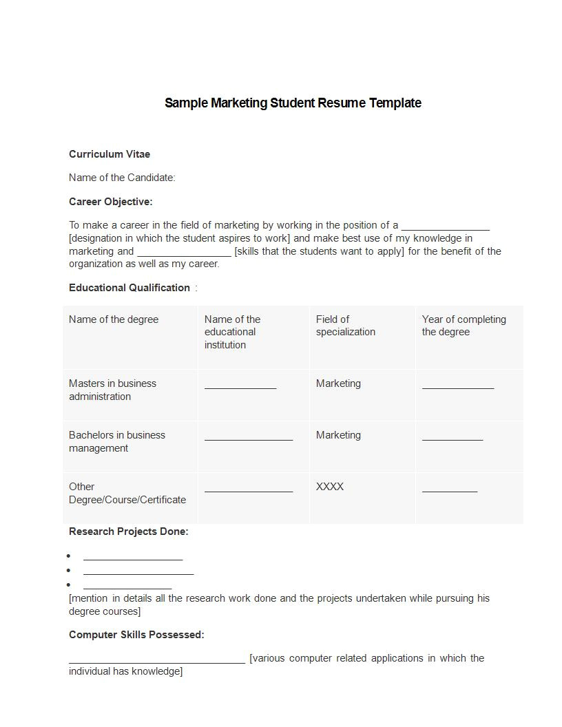 marketing resume templates