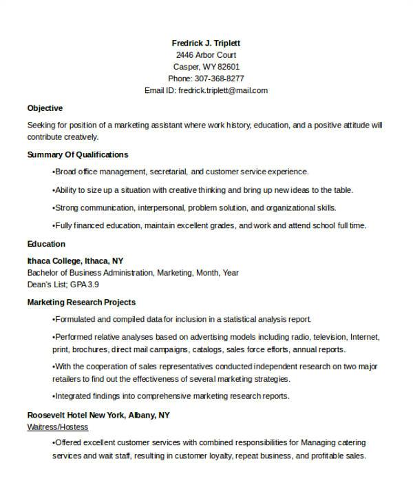 best marketing resume