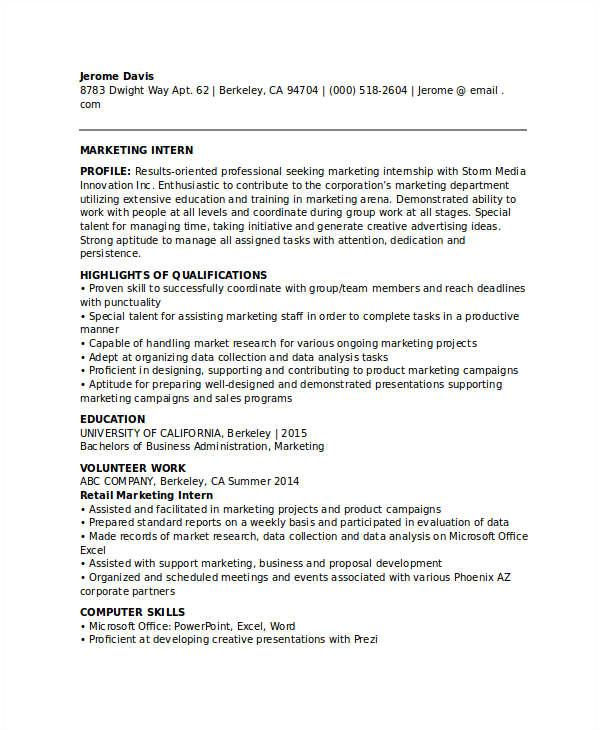 marketing resume download