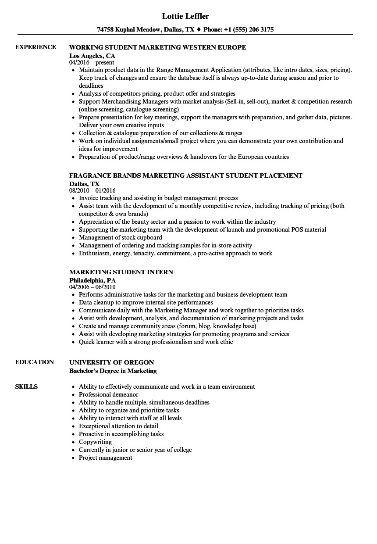 marketing student resume sample