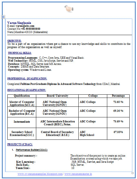 Mca Fresher Resume format In Word Over 10000 Cv and Resume Samples with Free Download Mca