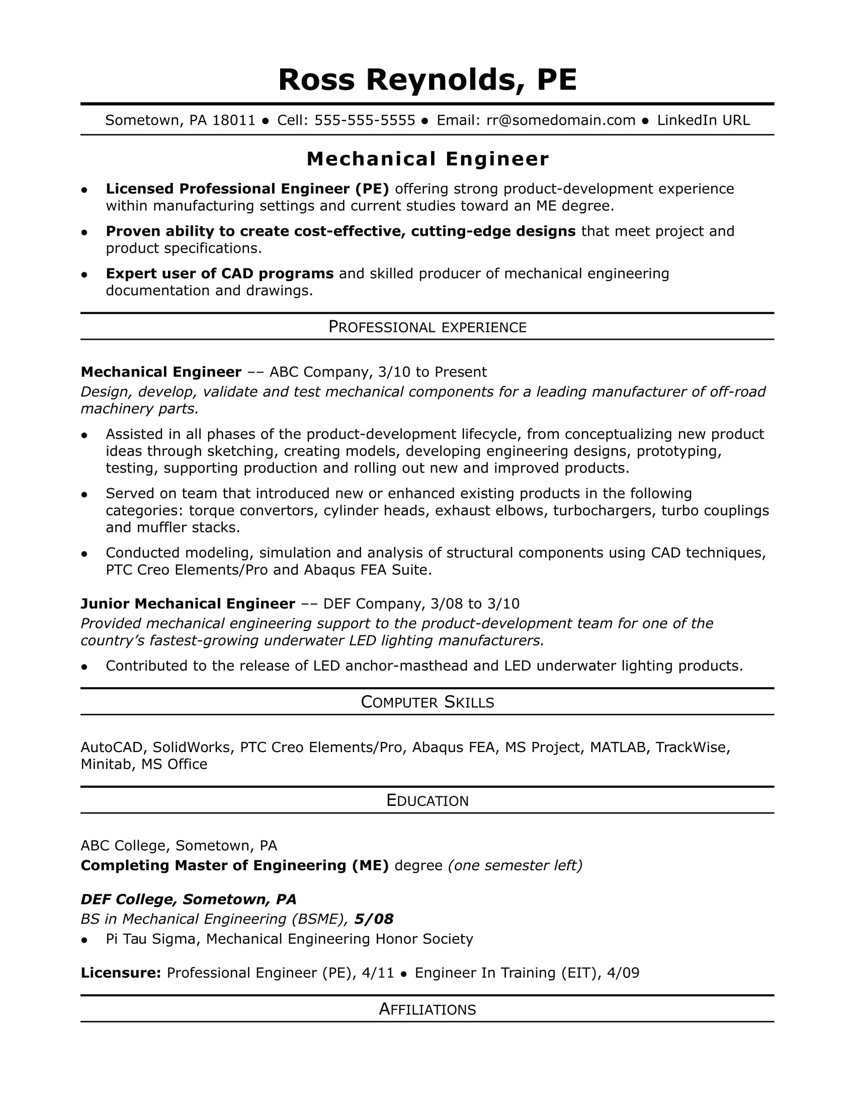 Mechanical Engineer Qualifications Resume Sample Resume for A Midlevel Mechanical Engineer Monster Com