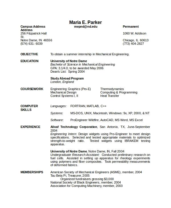 Mechanical Engineer Resume Pdf 10 Mechanical Engineering Resume Templates Pdf Doc