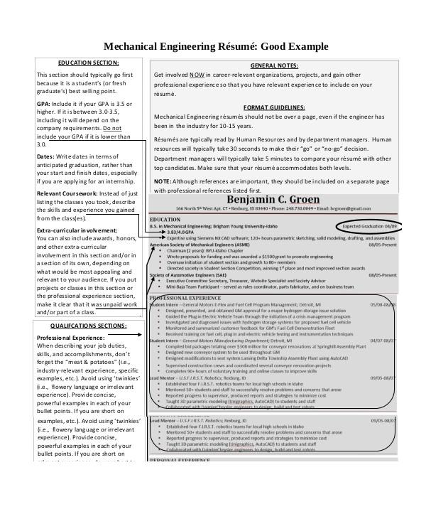 sample engineering resumes