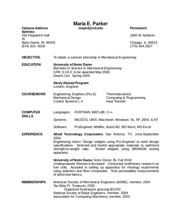 Mechanical Engineer Resume Sample Doc 10 Mechanical Engineering Resume Templates Pdf Doc