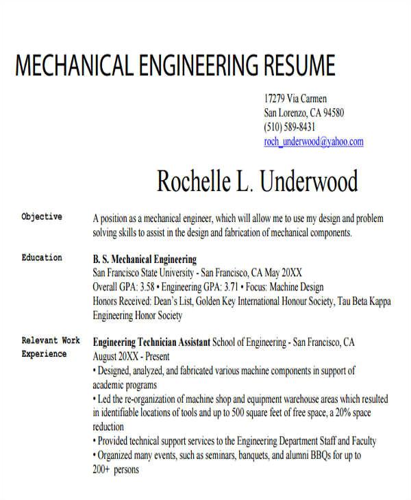 generic engineering resume template
