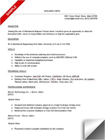 mechanical engineering student resume sample