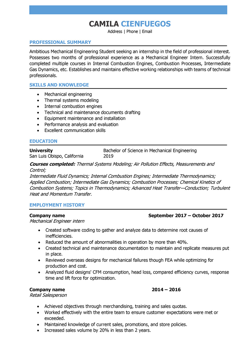 professional engineering resume examples