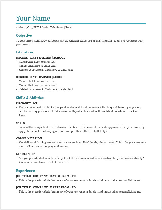 professional creative and modern resume templates