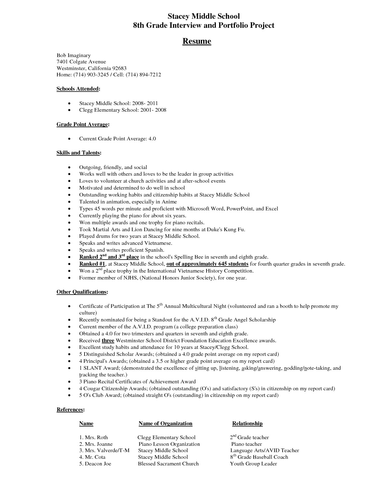 Middle School Student Resume Middle School Student Resume Example Stacey Middle