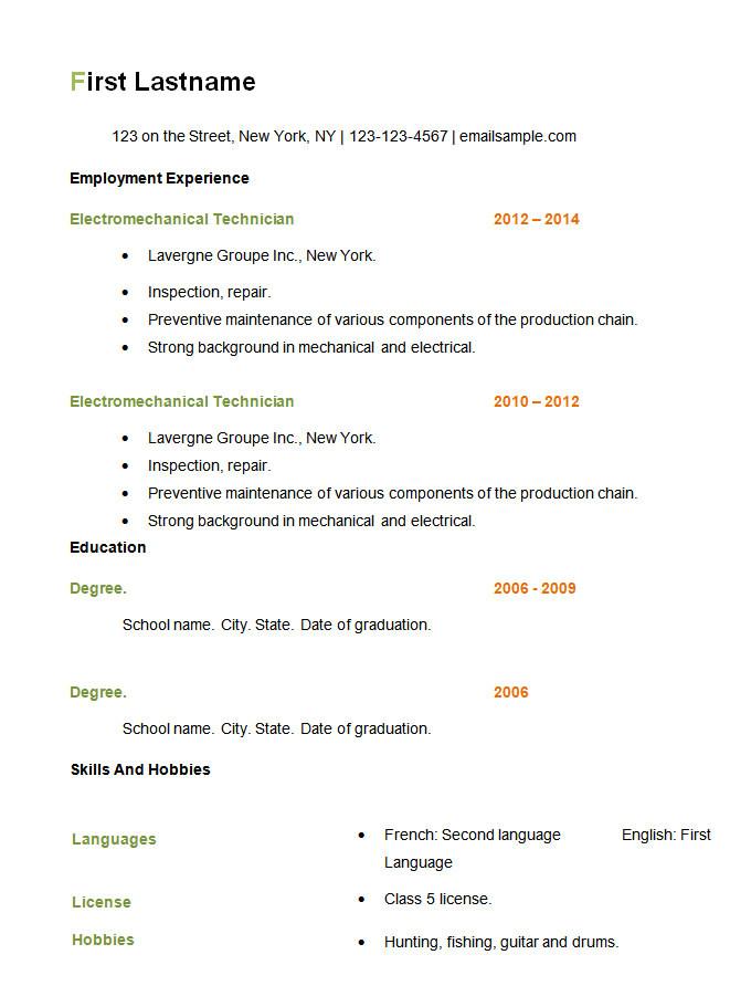 model basic resume