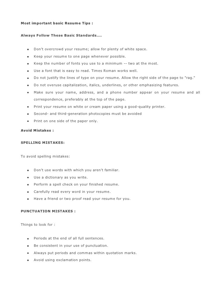 Most Basic Resume Most Important Basic Resume Tips 1