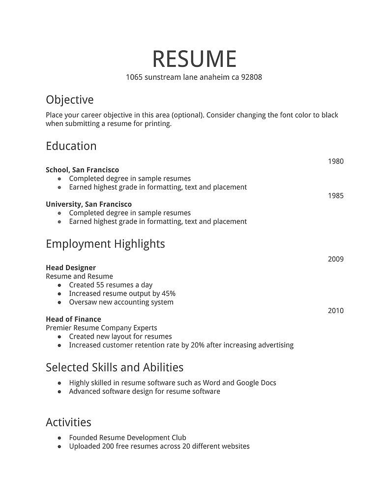 Most Simple Resume format Simple Resume Template Download Free Resume Templates D