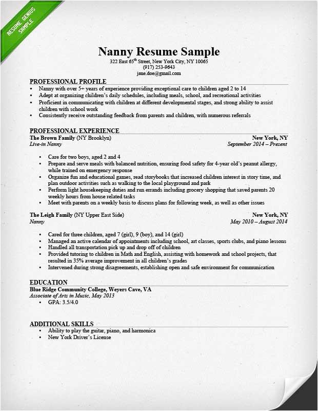 Nanny Resume Sample Nanny Resume Sample Writing Guide Resume Genius