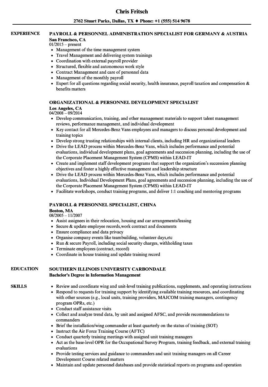 Navy Basic Training Resume Personnel Specialist Resume Samples Velvet Jobs