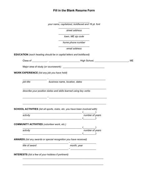 Need A Blank Resume form Image Result for Blank Resume Fill Up form Student