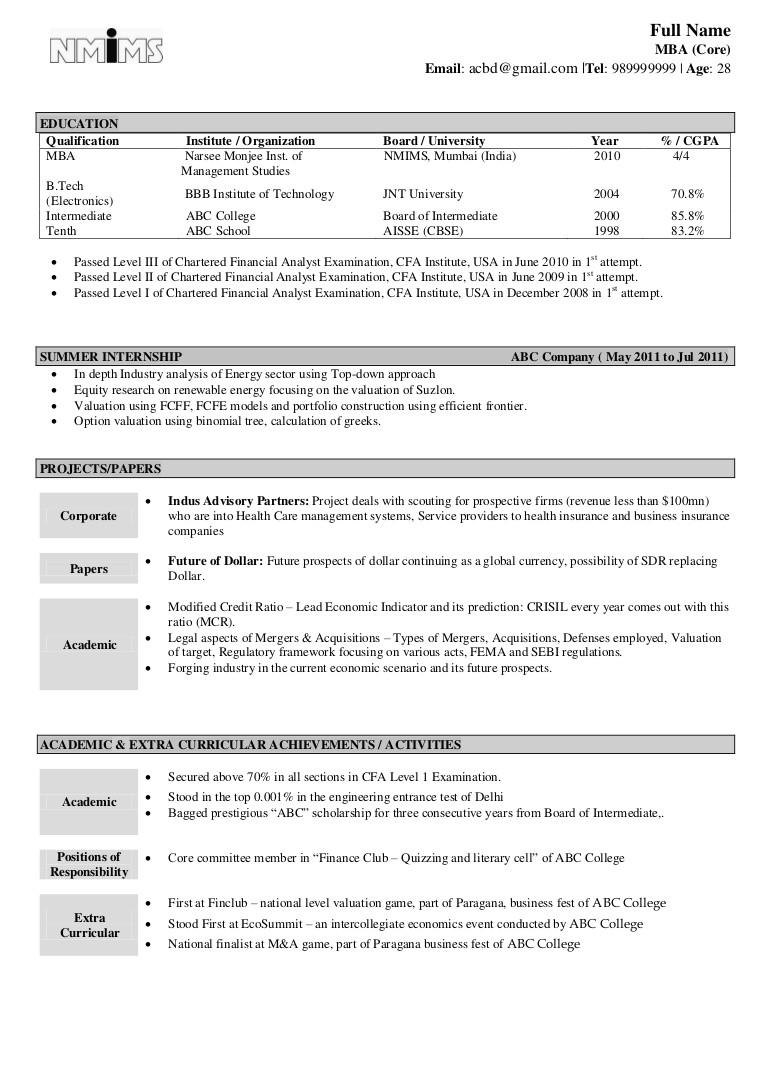 sample resume fresher