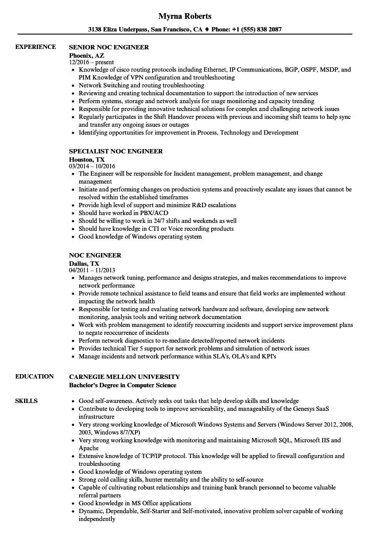 noc engineer resume sample