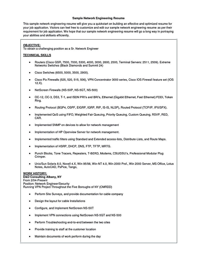 Network Engineer Resume for 1 Year Experience Network Security Engineer Resume Network Engineer Resume