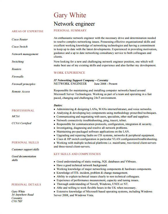 network engineer resume template